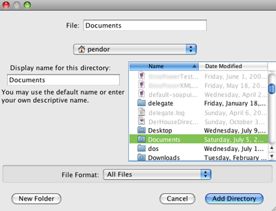 Add directory dialog with a directory selected